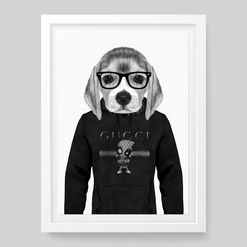 Beagle Hoodie Black and White Framed Wall Art Print