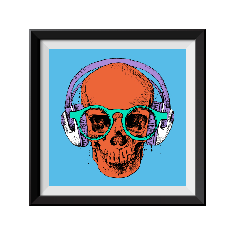 Blue Skull Pop Art Framed Print